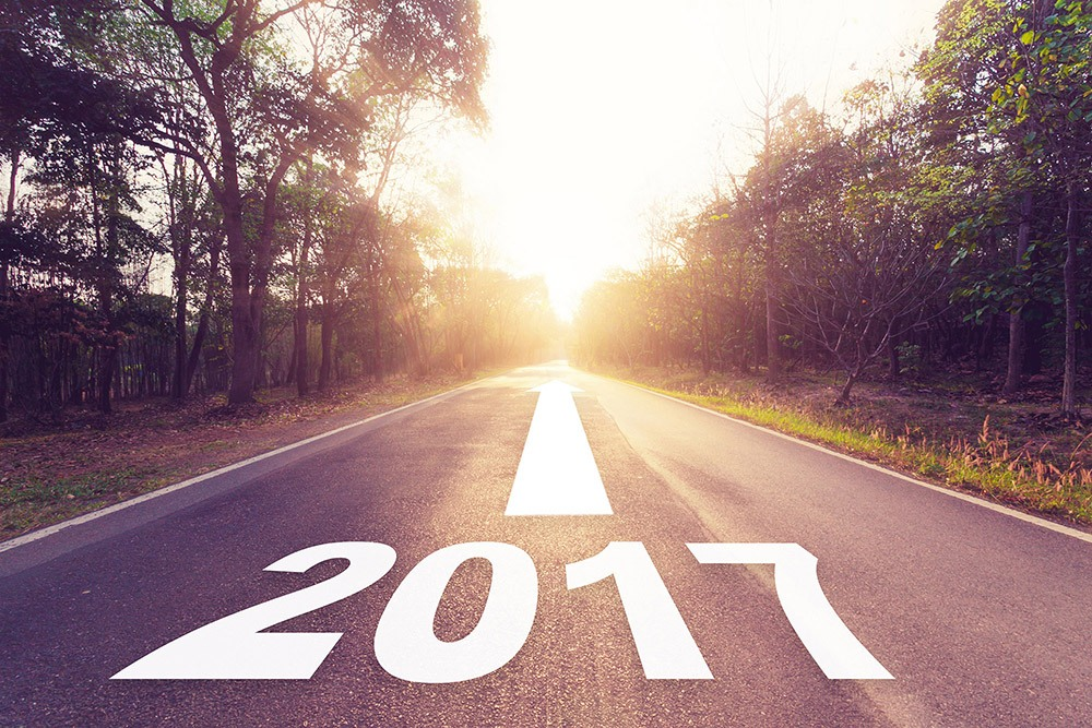 Road with '2017' written on it